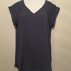 Express navy/white polka dot blouse. Satin feel.